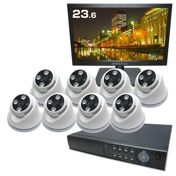 ブロードウォッチ 屋内天井型 赤外線100万画素カメラ8台セット<23.8インチLCD/4TB録画機付> SEC-A-8FV-24RL