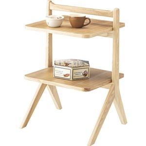 その他 サイドテーブル/ミニテーブル 【ナチュラル】 幅45cm 木製 棚板2枚 〔リビング ダイニング ベッドルーム 寝室〕 ds-2172999