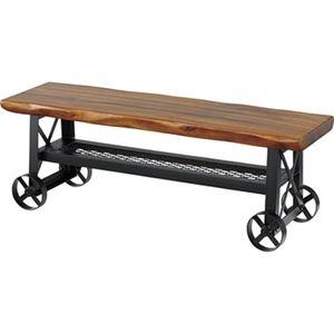 その他 アンティーク風 ベンチ/玄関椅子 【幅118cm】 木製 アイアン製 キャスター付き 棚板付き 『ルオータ』 〔リビング ダイニング〕 ds-2173011
