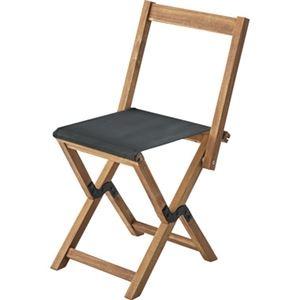 その他 モダン 折りたたみ椅子 3脚セット 【ブラック】 幅42cm 木製 オイル仕上 ポリエステル 〔アウトドア イベント レジャー〕 ds-2173451