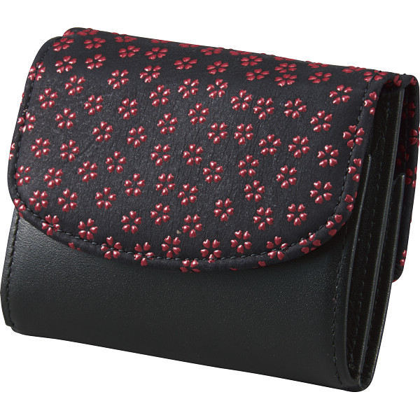 その他 印伝三つ折り財布 ブラック×レッド (包装・のし可) 2407000003754【納期目安:1週間】