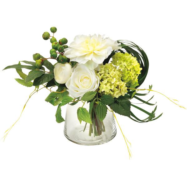 その他 プリマ ガラスベ-スアレンジ(造花) ホワイト (包装・のし可) 4589635421474【納期目安:1週間】
