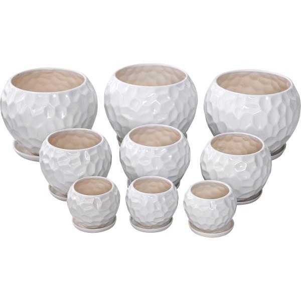 その他 陶器植木鉢9点セット(受皿付) ホワイト 4560159748759【納期目安:1週間】