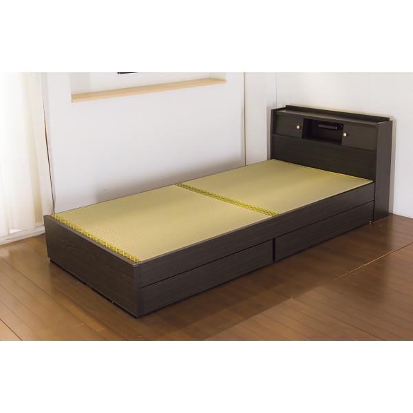 その他 畳ベッド(棚・照明・引出付) シングルサイズ ダークブラウン色 4560149925382【納期目安:1週間】