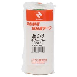 その他 (まとめ)ニチバン 紙粘着テープ 210-40 白 40mm×18m 3巻【×30セット】 ds-2180852