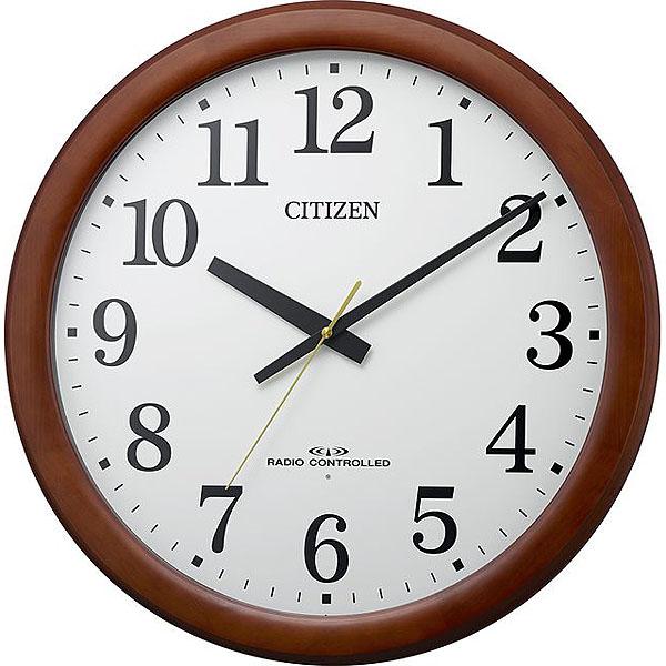 リズム時計 シチズン 電波時計 掛け時計 大型 飛散防止処理風防ガラス 連続秒針 直径53.4cm 木枠(茶色半艶仕上げ) 8MY548-006