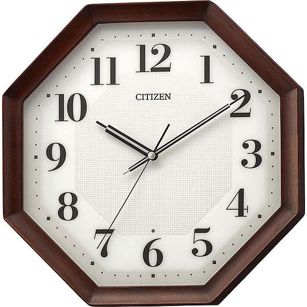 リズム時計 シチズン 電波時計 掛け時計 連続秒針 32x32cm 木枠(茶色半艶仕上げ) 8MY555-006