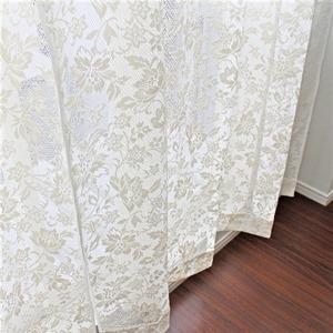 その他 幅150cm×丈228cm【2枚】 綿混花柄レースカーテン 幅が広い掃出し窓 日本製 ds-2194381