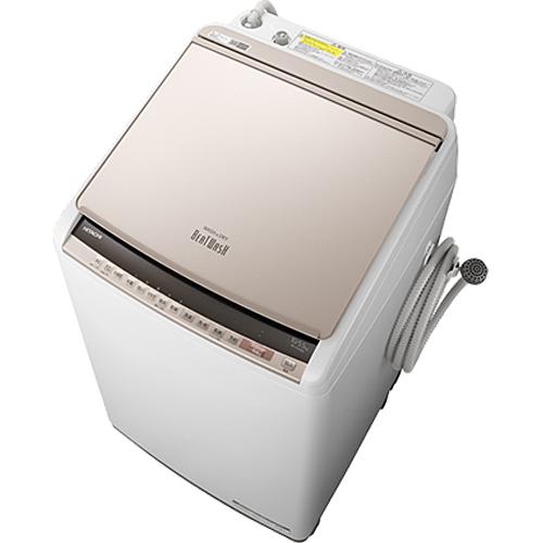 日立 洗濯・脱水10kg/乾燥5.5kg『ビートウォッシュ』AIお洗濯搭載 タテ型洗濯乾燥機(シャンパン) BW-DV100E-N