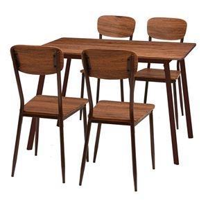 その他 ダイニングテーブル&チェア 5点セット 【テーブル幅110cm ブラウン】 スチールパイプ 〔リビング 台所〕 ds-2201934