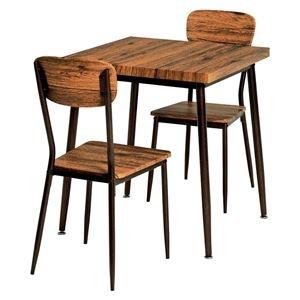 その他 ダイニングテーブル&チェア 3点セット 【テーブル幅70cm ブラウン】 テーブルアジャスター付 スチールパイプ 〔リビング 台所〕【代引不可】 ds-2201936