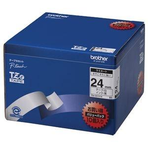 その他 (まとめ)ブラザー BROTHER ピータッチ TZeテープ ラミネートテープ 24mm 白/黒文字 業務用パック TZE-251V10 1パック(10個)【×3セット】 ds-2218479