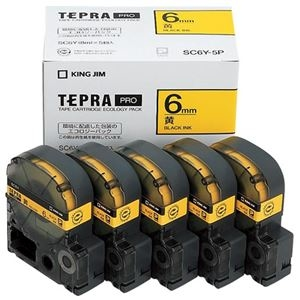その他 (まとめ)キングジム テプラ PRO テープカートリッジ パステル 6mm 黄/黒文字 エコパック SC6Y-5P 1パック(5個)【×3セット】 ds-2218665