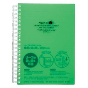 その他 (まとめ) リヒトラブ AQUA DROPsツイストノート 厚型 B6 B罫 黄緑 70枚 N-1667-6 1冊 【×30セット】 ds-2238580