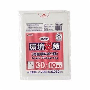 その他 (まとめ) ジャパックス 環境袋策 再生原料ポリ袋 半透明 30L LR-34 1パック(10枚) 【×100セット】 ds-2244271