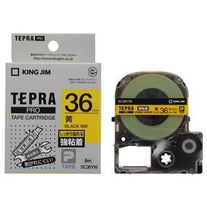 その他 (まとめ) キングジム テプラ PRO テープカートリッジ 強粘着 36mm 黄/黒文字 SC36YW 1個 【×5セット】 ds-2221503