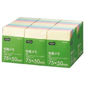 その他 (まとめ) TANOSEE 粘着メモ<ボリュームパック> 75×50mm 5色 1セット(30冊:5冊×6パック) 【×5セット】 ds-2223423