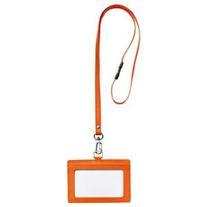 その他 (まとめ) フロント 本革製ネームカードホルダー ヨコ型 ストラップ付 オレンジ RLNH-E-O 1個 【×10セット】 ds-2223689