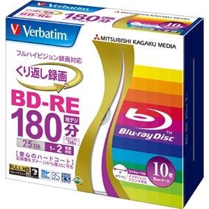 その他 (まとめ) バーベイタム 録画用BD-RE 25GB 2倍速 ワイドプリンターブル 5mmスリムケース VBE130NP10V1 1パック(10枚) 【×10セット】 ds-2224724