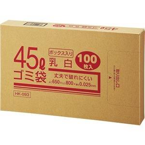 その他 (まとめ) クラフトマン 業務用乳白半透明 メタロセン配合厚手ゴミ袋 45L BOXタイプ HK-093 1箱(100枚) 【×10セット】 ds-2225413