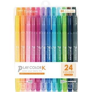 その他 (まとめ) トンボ鉛筆 水性サインペンプレイカラーK ツインタイプ 24色(各色1本) GCF-012 1パック 【×10セット】 ds-2225910