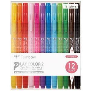 その他 (まとめ) トンボ鉛筆 水性カラーサインペンプレイカラー2 12色(各色1本) GCB-011 1パック 【×10セット】 ds-2226105