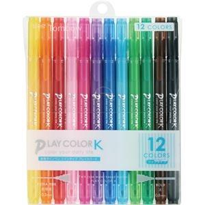 その他 (まとめ) トンボ鉛筆 水性サインペンプレイカラーK ツインタイプ 12色(各色1本) GCF-011 1パック 【×10セット】 ds-2226129