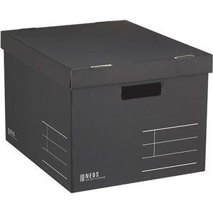 その他 (まとめ) コクヨ 収納ボックス(NEOS)Lサイズ フタ付き ブラック A4-NELB-D 1個 【×10セット】 ds-2226818