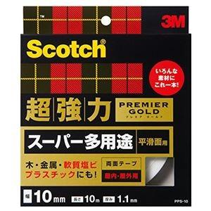 その他 (まとめ) 3M スコッチ 超強力両面テープ プレミアゴールド (スーパー多用途) 10mm×10m PPS-10 1巻 【×10セット】 ds-2227241