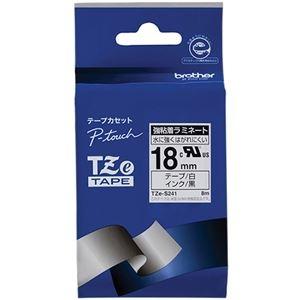 TZE-S241 ブラザー 【×10セット】 ピータッチ その他 (まとめ) 1個 18mm TZeテープ強粘着ラミネートテープ ds-2227540 白/黒文字