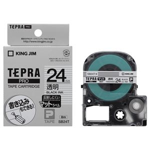 その他 (まとめ) キングジム テプラ PRO テープカートリッジ マットラベル 24mm 透明/黒文字 SB24T 1個 【×10セット】 ds-2227723