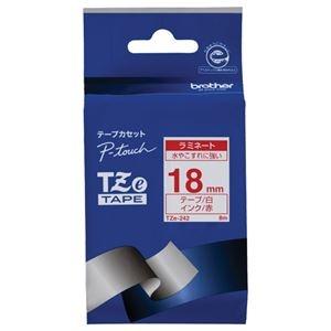その他 (まとめ) ブラザー BROTHER ピータッチ TZeテープ ラミネートテープ 18mm 白/赤文字 TZE-242 1個 【×10セット】 ds-2228249
