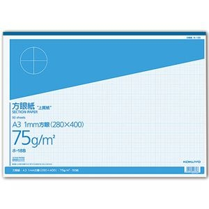 その他 (まとめ) コクヨ 上質方眼紙 A3 1mm目 ブルー刷り 50枚 ホ-18B 1冊 【×10セット】 ds-2228957