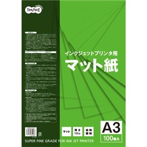 その他 (まとめ) TANOSEE インクジェットプリンタ用マット紙 A3 1冊(100枚) 【×10セット】 ds-2229627