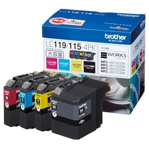 その他 (まとめ) ブラザー BROTHER インクカートリッジ お徳用 4色 大容量 LC119/115-4PK 1箱(4個:各色1個) 【×10セット】 ds-2230316