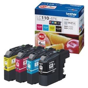 その他 (まとめ) ブラザー BROTHER インクカートリッジ お徳用 4色 LC110-4PK 1箱(4個:各色1個) 【×10セット】 ds-2230326