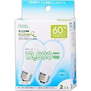 その他 (まとめ) オーム電機 電球形蛍光灯 エコ電球 A形60形 昼光色 EFA15ED/11-2PN 1パック(2個) 【×10セット】 ds-2231543