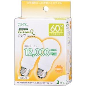 その他 (まとめ) オーム電機 電球形蛍光灯 エコ電球 A形60形 電球色 EFA15EL/11-2PN 1パック(2個) 【×10セット】 ds-2231559