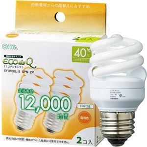 その他 (まとめ) オーム電機 電球形蛍光灯 エコ電球 D形40形 電球色 EFD10EL/8-SPN-2P 1パック(2個) 【×10セット】 ds-2231567