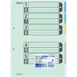 その他 (まとめ) コクヨカラー仕切カード(ガバット・背幅伸縮ファイル用・5山見出し) A4タテ 2穴 シキ-250 1パック(10組) 【×10セット】 ds-2233225