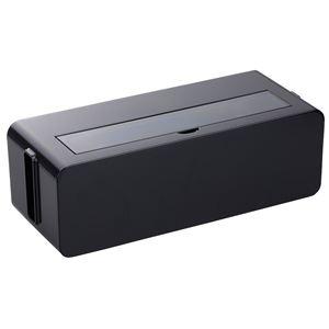 その他 (まとめ) コンセント収納ボックス/ケーブルボックス 【L ブラック】 幅39×奥行15.6×高さ12.9cm 透明フタ付き 【×12個セット】 ds-2247352