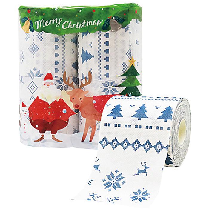 その他 【72個セット】クリスマストイレットプリント4ロールダブル(27.5m) 2923376