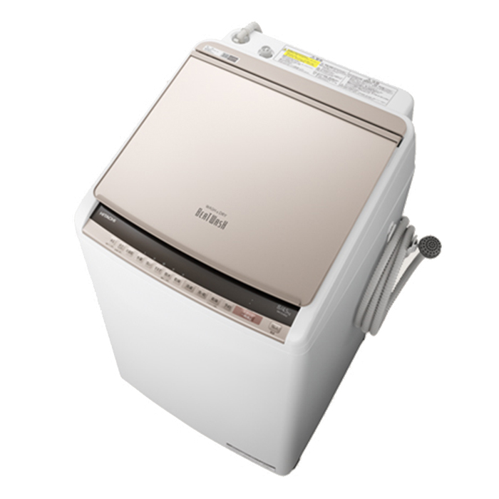 日立 洗濯8.0kg/乾燥4.5kg 『ビートウォッシュ』 タテ型洗濯乾燥機 (シャンパン) BW-DV80E-N