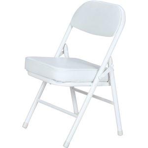 その他 背もたれ付き ミニチェア/折りたたみ椅子 【ホワイト×ホワイト】 スチール 合成皮革 コンパクト 【6個セット】【代引不可】 ds-2257823