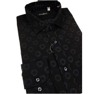 その他 おすすめ イタリア製ファクトリーシャツ from milano ブラック×水玉 Mサイズ ds-2256355