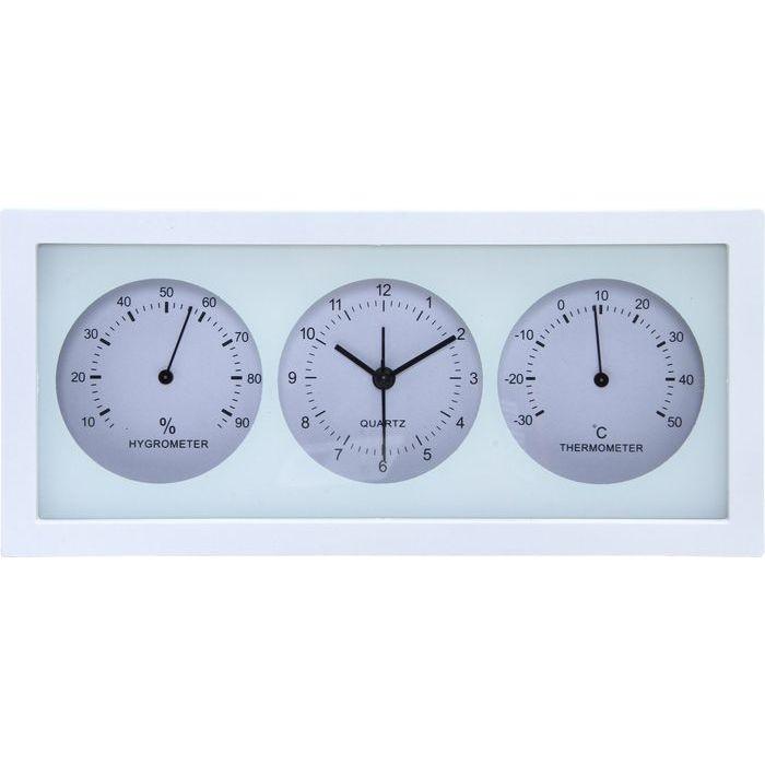 不二貿易 置時計温湿度計付き ダンデ 横型 WH EG6711BTH-YP78【6個セット】 FJ-99062