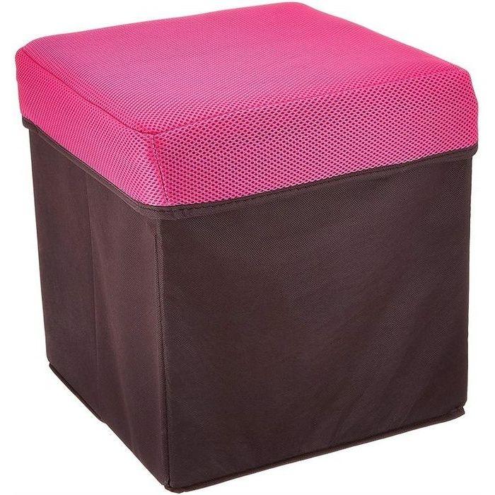ウィキャン 座れる収納ボックス 正方形 (BOXスツール) ピンク WJ-8028(リビング 鏡台 椅子 収納 2WAY チェア リビング) 20個セット【沖縄・離島配達不可】 4589798080280-20