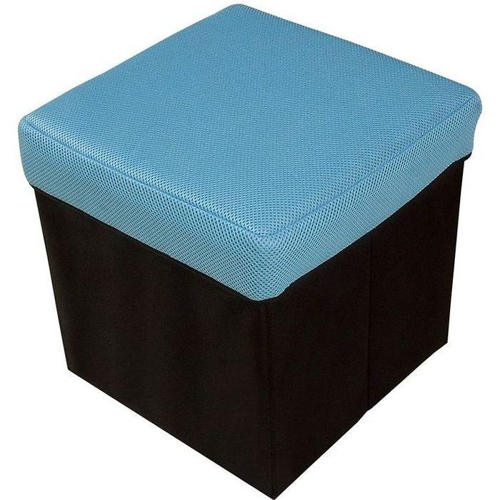 ウィキャン 座れる収納ボックス 正方形 (BOXスツール) ブルー WJ-8029(リビング 鏡台 椅子 収納 2WAY チェア リビング) 20個セット【沖縄・離島配達不可】 4589798080297-20