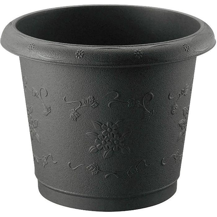 リッチェル 丸 プランター ダークグレー 38型 (植木鉢) 16個セット【沖縄・離島配達不可】 4973655723807-16