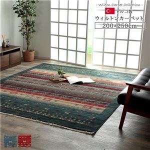 その他 トルコ製 ウィルトン織カーペット 畳めるタイプ コンパクト ネイビー 約200×250cm ds-2257277
